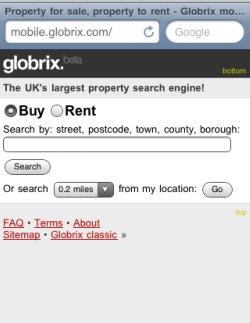 Globrix mobile homepage