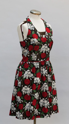 Skull and Rose Halter Dress - Front