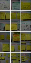 Show your work: sticky notes on a classroom white board