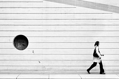 In Motion (Philipp Klinger Photography) Tags: street trip travel santiago light people bw woman white motion black blur girl lines station architecture female train circle person blackwhite high nikon key europe track belgium belgique geometry candid platform explore human calatrava frau frontpage philipp liege lige belgien wallonie klinger lttich wallonia flickrshop guillemins wallonien d700 dcdead luick