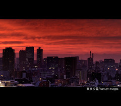 Fiery sunset over Tokyo.../ (Ken.Lam) Tags: park pink sunset red tower japan clouds buildings lights tokyo twilight purple dusk illuminations   tones  sumida tsukishima axis offices annex shiodome dentsu  toyosu      platinumphoto