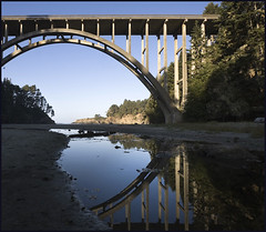 Reflecting (Lisa Ouellette) Tags: bridge blue reflection reflecting arch thinking mendocino 1939 hwy1 russiangulch explored explore48 frederickwpanhorstbridge