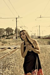 Trains ([StolenMoments]) Tags: old light sky woman pet girl beauty pose hair toy rouge 50mm gold dress trains rosso stazione luce feelings ragazza elegance binari treni espression rotaie volto orsetto vestito sfuocatura attraversamento copyrightbystolenmoments