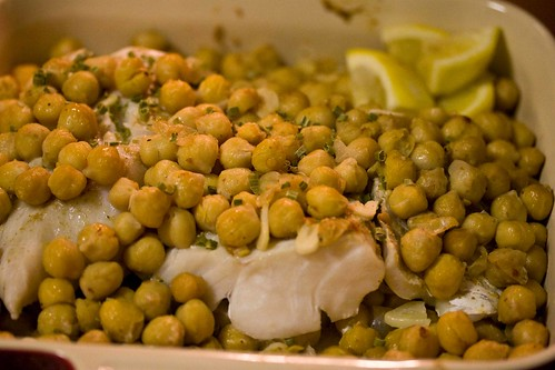 spicy chickpeas and cod, baked