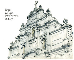 Liège, anc. église Saint-Antoine (gerard michel) Tags: architecture sketch belgium baroque liège dessinwatercolour