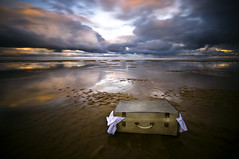 Coast to coast - Final Destination (dan barron photography - landscape work) Tags: uk longexposure light sunset water clouds reflections sand web small country pools destination ripples suitcase belongings endoftheroad coasttocoast