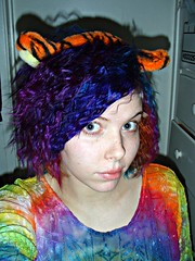 Tigger!! (Megan is me...) Tags: megface meganyourface meg megan meganisme self portrait photography rainbow tie dye tee shirt blouse pretty grey green blue eyes freckles chapped lips red bow clip bright neon colorful colored dyed hair color jerome russell punky colours colors turquoise plum sfx special effects atomic pink napalm orange crazy awesome unique one kind diy style fashion clothes clothing whinnie pooh tigger ears