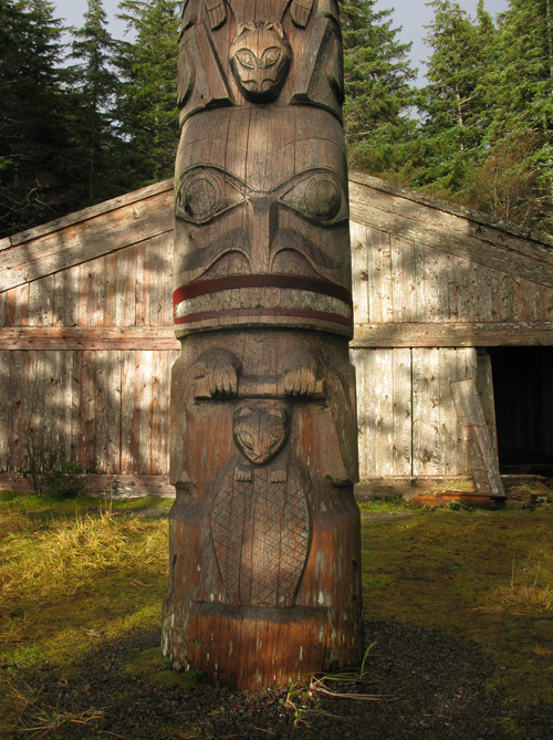 sunlight hits Chief Son-i-Hat's Whale House, Kasaan Totem Park, Kasaan, Alaska