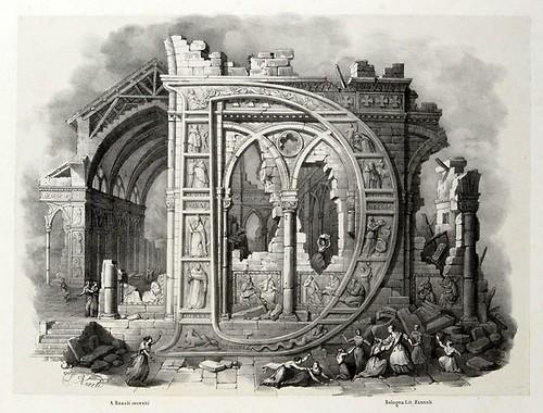 004-Letra D-Alfabeto pittorico- Antonio Basoli 1839-© Accademia di Belle Arti di Bologna