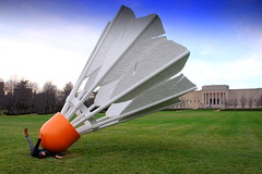 linda pinned by a shuttlecock  @ Nelson-Atkins Museum (Damon Tighe) Tags: city usa sports museum birdie america midwest funny north humor large surreal nelson kansascity heartland missouri kansas northamerica atkins kc badminton damon nelsonatkins shuttlecock nelsonatkinsmuseum tighe damontighe
