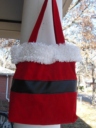 Santa suit tote bag, back