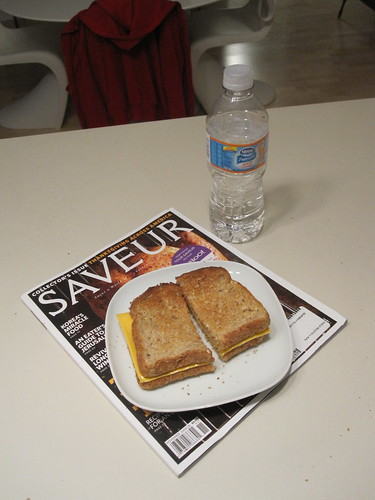 Cheese toast and orange water
