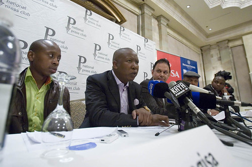 African National Congress Youth League leadership holding a press conference in the aftermath of the SACP Conference where Julius Malema was booed. There has been escalating tension within the Alliance. by Pan-African News Wire File Photos