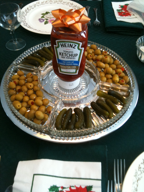 Olives, pickles, fancy ketchup ;)