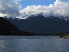 Shrouded Mountain (Shutterbug Fotos) Tags: trip vacation sky mountain water clouds weekend olympics washingtonstate lakecushman mtellinor