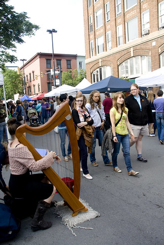 Craft vendors line the streets of Ithaca during Ithaca Festival