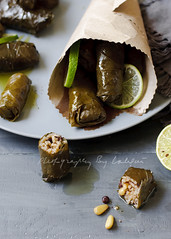 Dolmadakia (Laksmi W) Tags: lunch greek lemon rice sidedish filled snack vegetarian appetizer dolmathes lime grapeleaves oliveoil tabletop pinenuts currants dolma foodphotography dolmades grayish dolmadakia