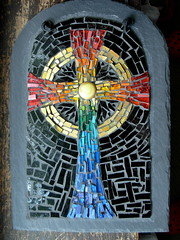 Rainbow Mosaic Celtic Cross by Margaret Almon (Nutmeg Designs) Tags: glass rainbow mosaic slate celticcross nutmegdesigns margaretalmon goldsmalti