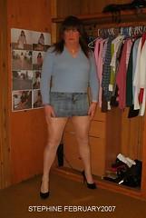 February (stephine2007) Tags: sexy legs tgirl tranny heels miniskirt pantyhose crossdresser tg shemale