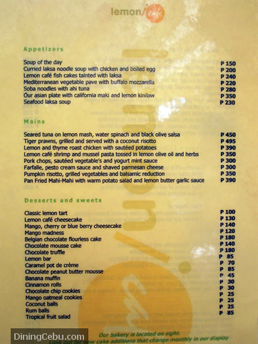 Lemoni Cafe Menu Boracay