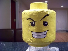 Finished Lego head pinata