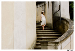 Florence 1 (mongrelnomad) Tags: italy girl stone climb florence blurry dress staircase 30thbirthday 2009 kodak160nc leicamp autaut june2009