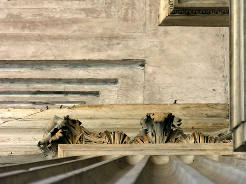 The Pantheon's portico from below