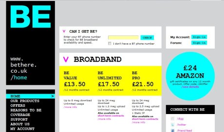 Be Broadband homepage