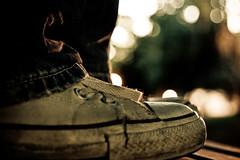 the shoe shot (baaasti) Tags: summer night self canon shoes dof bokeh jeans 1770 chucks 400d