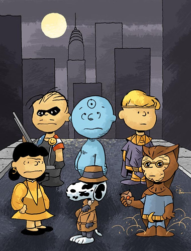 Really?  Charlie Brown and the Peanuts gang as The Watchmen?  Brilliant!  Illustration by Evan Shaner - EvanShaner.com