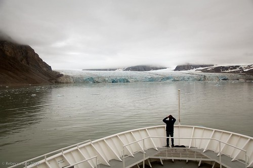 National Geographic Explorer Approaches a Glacier, Svalbard