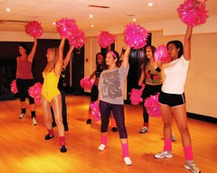 Cheer Fit in FAME Style Workout! (Cheer Fit) Tags: pink yellow studio cheerleaders fame shorts legwarmers pompoms leotard dancestudio jazzshoes aerobicsstudio cheerfit cheerleadingclass the52club