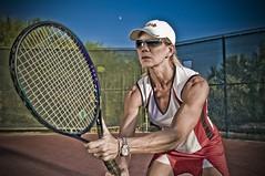 Tennis Ace (Swet!) Tags: arizona sunglasses female photoshop intense model focus az tokina tennis strong fitness 1224mm fit intimidation lightingessentials figurecompetitor