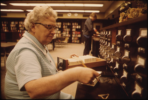 Librarian at the Card Files at Senior High School in New Ulm Minnesota ..., 10/1974