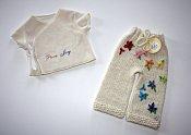 'Pure Joy' Set - embellished longies & embroidered wrap shirt - newborn