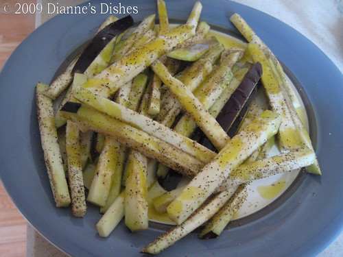 "Eggplant ""Fries"" with Creamy Onion Dip: Eggplant ""Fries"": Sea Salt, Pepper and Olive Oil"