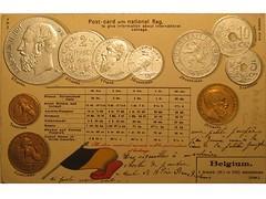 Antique postcard: Belgian coins (Baltimore Bob) Tags: old money silver gold coin belgium belgie coins antique flag postcard copper belgian leopoldii
