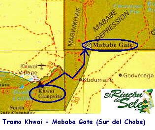 Recorrido de Khwai a Mababe Gate por ti.