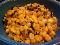 Corn and black trumpet mushrooms