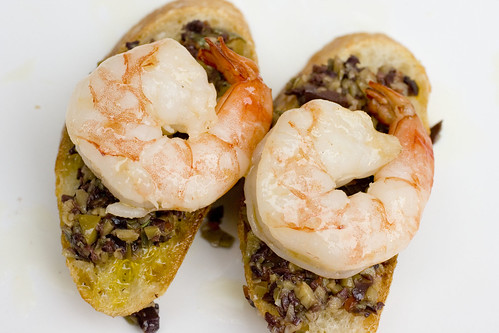 Olive Caper Relish on baguette with Shrimp 2