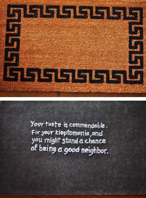 welcome mat with message