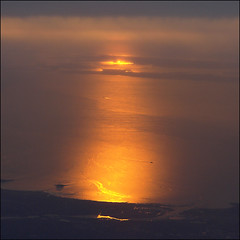 Aerial sunrise in NYC (NaPix -- (Time out)) Tags: new york city nyc morning red sky seascape reflection water night clouds sunrise landscape gold boat aerial dolden laguardiaairport napix