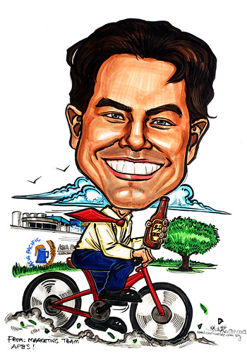 Cyclist caricature for Asia Pacific Brewery
