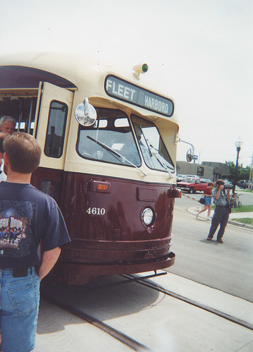 A former Toronto Transit Commision 1951 PCC electric streetcar in downtown Kenosha Wisconsin. Saturday, June 17th 2000.