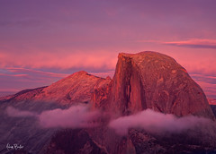 half dome ignition ([Adam Baker]) Tags: park pink blue sunset orange mountain nature rock clouds canon landscape purple sierra national yosemite granite halfdome vista glacierpoint featured gnd 24105l adambaker alpinglow adidap 5dmarkii