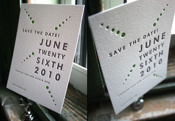 Champagne Letterpress Save the Date from Bella Figura
