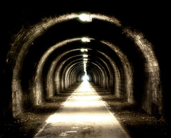 Tunnel of Innocents (Semi-detached) Tags: november pool scotland sandstone edinburgh interior seat innocent perspective scottish railway tunnel walkway holyrood 2009 commonwealth arthurs archtitecture duddingston