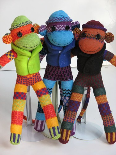3 Colorful Sock Monkeys Ready for Adoption!
