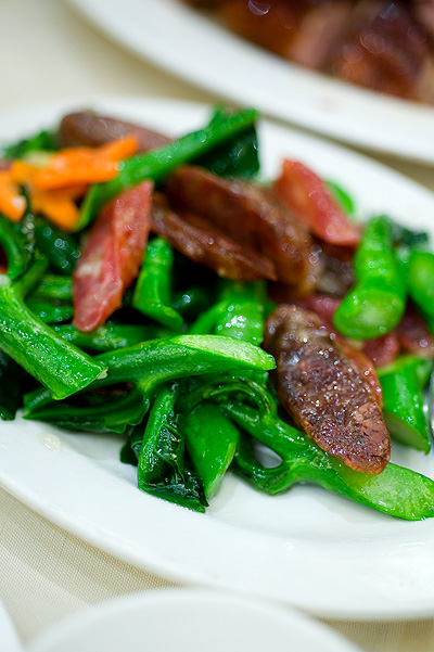 Chinese sausage fried with veggies Yung Kee, Hong Kong