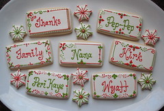 Thanksgiving Cookie Place Cards (SweetSugarBelle) Tags: snowflake christmas red holiday green cookie lime placecard